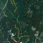 Karta över banan (grönt = grusväg, gult = motionsspår, rött = singletrack)
